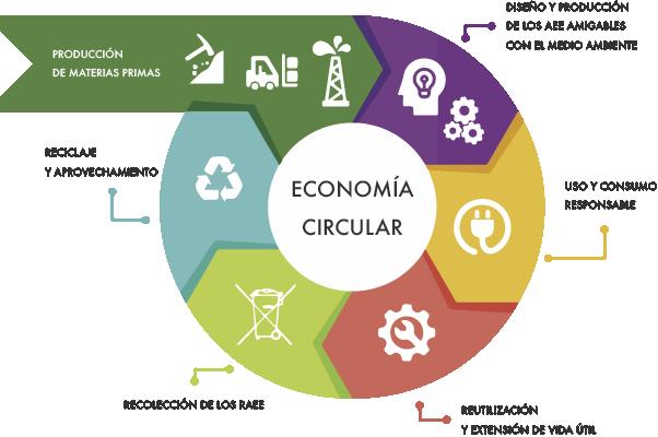 Gráfico de como es la economía circular en etapas dentro de la industria productiva